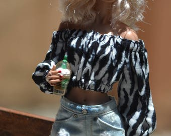 Made to Order: Extra-faded and Distressed Denim Shorts for 12in Fashion Dolls