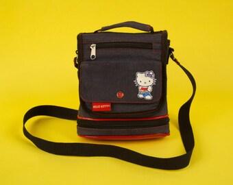 Vintage HELLO KITTY Small Messenger Bag Sanrio Blue Denim Cute Kawaii Cat