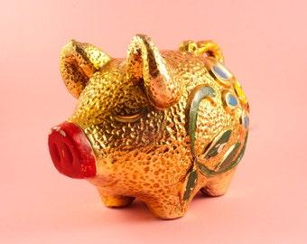 Vintage Metallic Gold Chalkware Piggy Bank with Retro Flower Design 1960s