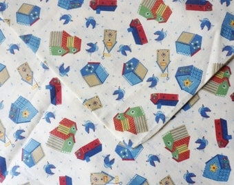 """Bird House Fabric with Bluebirds, 1 yd x 45"""", Signature Classics by Oakhurst Textiles"""