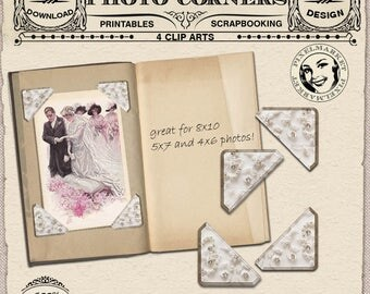 White Lace CORNER CLIPART Decorative Picture Frame Lace Overlay Wedding Photo Corner for CardMaking Photographer Scrapbooking WebDesign n208