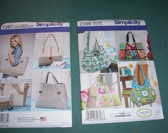 Simplicity 2396..Simplicity 1387...Bags in Assorted Sizes...Ladies Handbag Patterns...Tote Bags....Shoulder Bag Patterns..