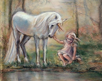 "Fantasy, Unicorn - ORIGINAL pastel painting - wall art, Enchanted forest ""Magical Facade"" Laurie Shanholtzer"