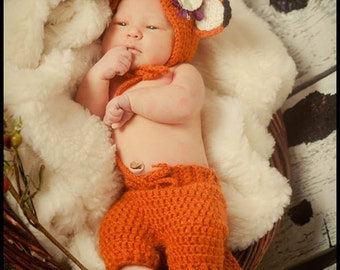 Crochet Fox Pants and Bonnet Photo Prop and Baby Gift, Crochet Baby Pants and Hat Set