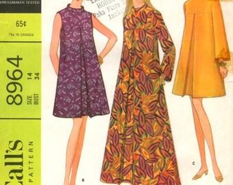 60s Flared Dress Pattern McCalls 8964 Size 10 Uncut