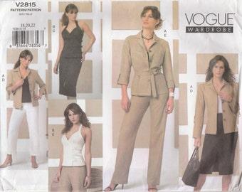 Modern Wardrobe Pattern Vogue 2815 Sizes 18 20 22 Uncut