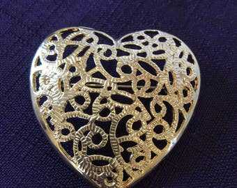 Vintage Gold Metal Swirls Inside Heart Pin Brooch. Heart Pin with Gold Metal Swirls Filling Inside.