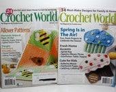 Crochet World, Crochet Magazines, Set of 2 Spring Issues, April 2012, February 2014, 58 Crochet Patterns, Crochet Ballerina Mouse Pattern