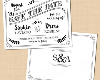 Typography Save the Date Templates, Monogram, Industrial Steampunk (5.5x4.25): Text-Editable in Word, Printable on Avery, Instant Download