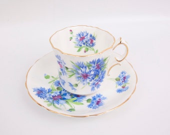 Vintage Hammersley Teacup Saucer Blue Cornflower Fine Bone China Gold Trim Made in England Purple flowers