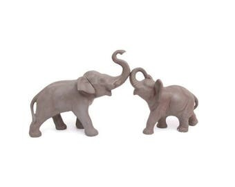 Vintage Gray Elephant Statues Ceramic Animal Figurines Set of 2 Mom and Baby Trunks Up Safari Theme