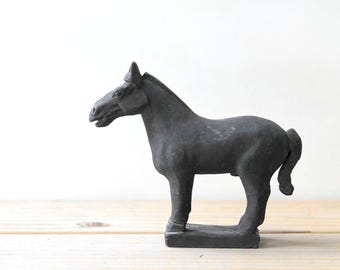 Chinese warrior horse vintage statue / terracotta clay horse figurine / Chinese emperor tomb replica / gray horse collectible / rustic horse