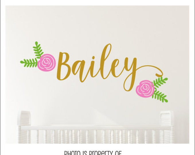Girls Flower Decal Set Personalized Name and Floral Decal Set Girls Nursery Metallic Gold Cottage Rose Wall Decor Nursery Decor Trendy Vinyl