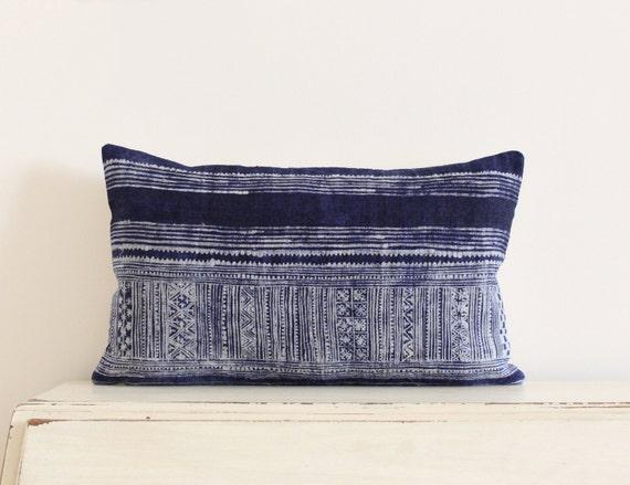 """SALE - Vintage Hmong indigo batik lumbar pillow cushion cover 12"""" x 20"""""""
