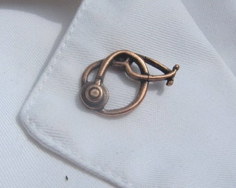 Copper Stethoscope Lapel Pin-  CC517C-  Nurse, Doctor, and Medical Pins-  Hospital Pins- Healthcare Accessories