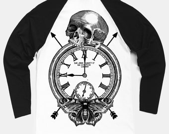Time Flies Contrast Sleeve Baseball T-Shirt by Art Disco