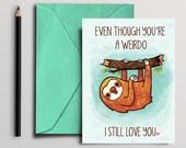 funny sloth Card, Instant Download, Digital Download, printable card