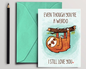 funny sloth Card, Instant Download, Digital Download, printable card