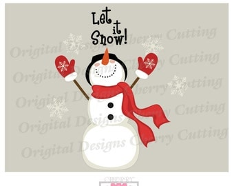 Let it Snow SVG eps jpg png,Snowman svg, Winter Snowman Silhouette Cut Files, Cricut Cut Files CHSVG23 -Personal and Commercial Use