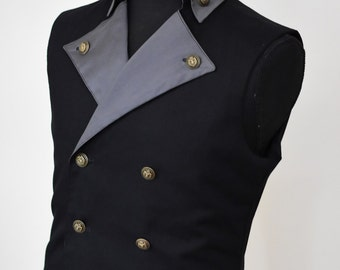 SALE! Ready to ship, Mens Steampunk Victorian Vest - Black Pirate Costume Burning Man Festival Hipster Waist Coat Vest