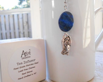 Tea Infuser, Guardian Angel , Free Shipping in USA, Lead Free U.S Made Charm, Blue,Lapis Lazuli Semi Precious Stone, Gift Boxed