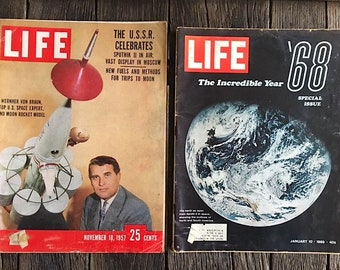 Vintage 1960's Life Magazines -  Space Race Life Magazines - Sputnik Satellite Life Magazine - The Incredible Year '68 - November 18, 1957
