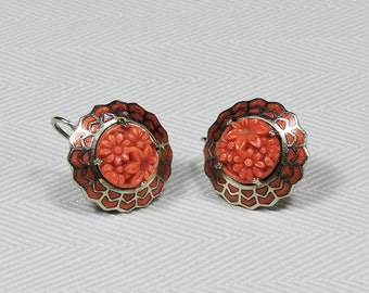 Vintage Coral Colored Screw Back Earrings Flower Cabachon