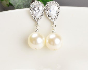 Ivory Pearl Earrings - Cubic Zirconia Earrings - Swarovski Pearl Drop Earrings Silver - Pearl Bridal Earrings - Bridesmaid Jewelry