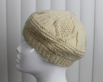 Vintage Cable Knit Beret Ivory Wool