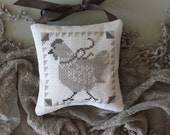 Lavender Sachet French Hen Gray Cross Stitch Hand Made Ornament Chicken Rustic Primitive Pillow Pinkeep Shabby Chic Cottage Farmhouse Style