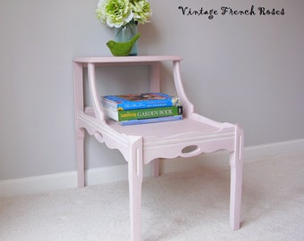 Vintage Table Antoinette Pink Whitewashed Wood End Table 1930s Vintage Bedroom Living Room Furniture Shabby Chic Cottage Style