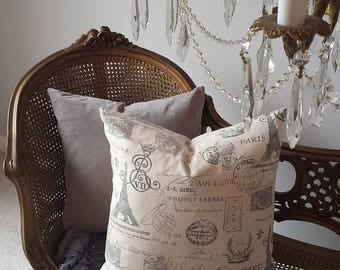 """Paris Eiffel Tower Pillow 20"""" Sq French Script Gray Print Shabby Chic Cottage French Farmhouse Style Decor Throw Pillow Down Insert"""