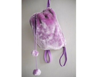 Beautiful Lavender Faux Fur 90s Mini Backpack