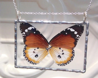 African Monarch Butterfly - Real Butterfly Wings Soldered Pendant - Great Christmas Gift