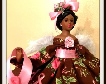 BC Warriors Pink Ribbon Angel, African American Angel, Breast Cancer Awareness, Pink Ribbon Doll, Black BC Angel
