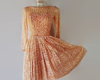 On Sale 50s Lace Dress Party Wedding Coral Circle Skirt Petticoat Petite