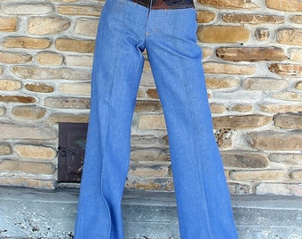 1970s Deadstock Patchwork Denim Jeans Dr. Denim Bell Bottoms Hippie Boho