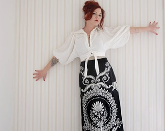 Vintage dolman sleeve blouse, ivory white boho crop top shirt S M L