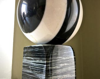 Flashy Big Black and White Marble Sphere on Unknown Stone Stand
