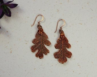 SALE Copper Earrings, Oak Earrings, Real Leaf Earrings, Lacey Oak Earrings, Real Leaf Jewelry SALE94