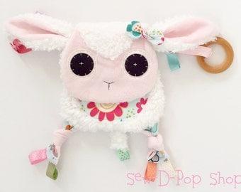 Mini Lamb Baby Blanket Teething Ring Toy Lovies