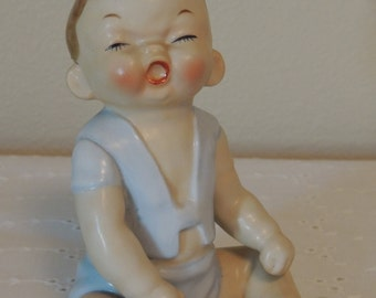 Vintage Porcelain Baby Figurine Boy in Blue 5 Inches Glazed Numbered on Bottom Nursery Decor Piano Baby Nostalgic Home Baby Shower