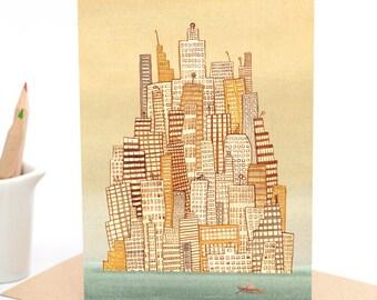 City Island - Watercolour -  Greeting card