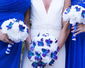 Cascading Peony Wedding Bouquet-Blue Purple Orchids, White Peony Bridal Bouquet- Made To Order- SOLD