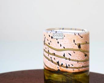 Vintage Gozo Glass Seashell vase 1990s -Maltese studio art glass vase - Mediterranean home decor - Mdina Michael Harris Isle of Wight Glass