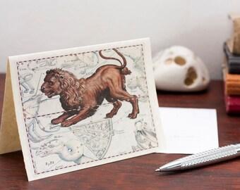 Digital Zodiac Card Leo Lion Sign Capricornus Constellation Greeting Card Printable Digital File Instant Download Card PDF Download