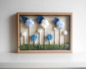 Fabric flowers wall art newborn home decoration boy 3d framed