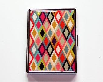 Pop Art Cigarette Case, Slim Cigarette Case, Retro Design, Cigarette box, Cigarette Case, Bright colors, 60s design, diamond pattern (7421)