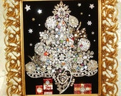 RESERVED for Rodney -------Jewelry Framed Christmas Tree ~  BEDAZZLED CHRISTMAS ~ Christmas Heirloom Keepsake