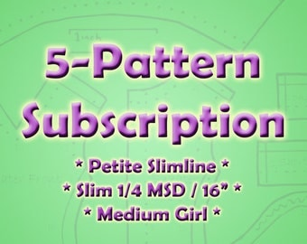 """Doll Clothes 5 Pattern Subscription for Monster High, Barbie, BJD, 16"""" Fashion Dolls"""